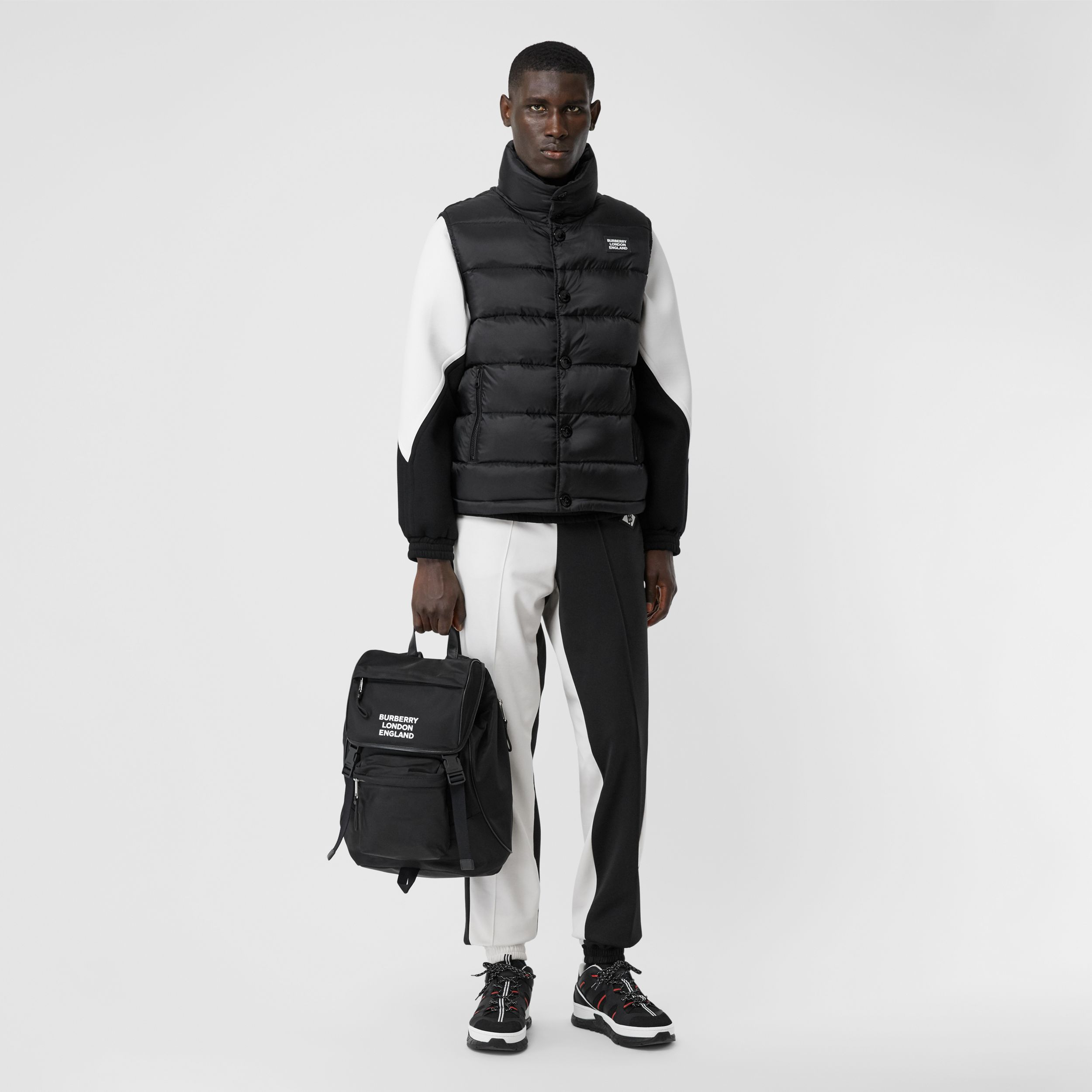 Monogram Stripe Print Puffer Gilet in Black | Burberry - 4