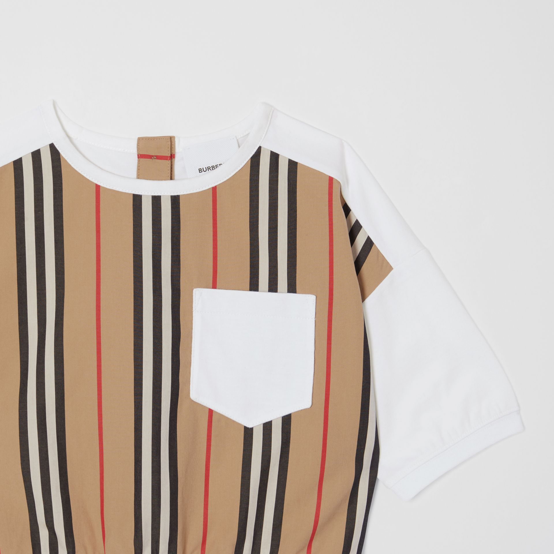 Icon Stripe Panel Cotton T-shirt in White | Burberry United Kingdom - gallery image 4