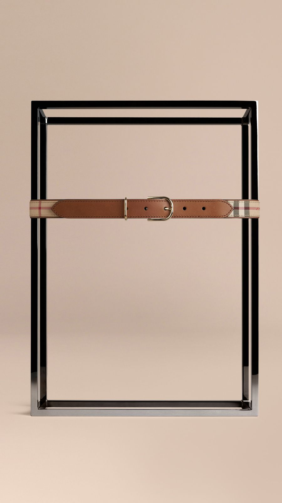 Honey/tan Horseferry Check and Leather Belt Honey/tan - Image 2
