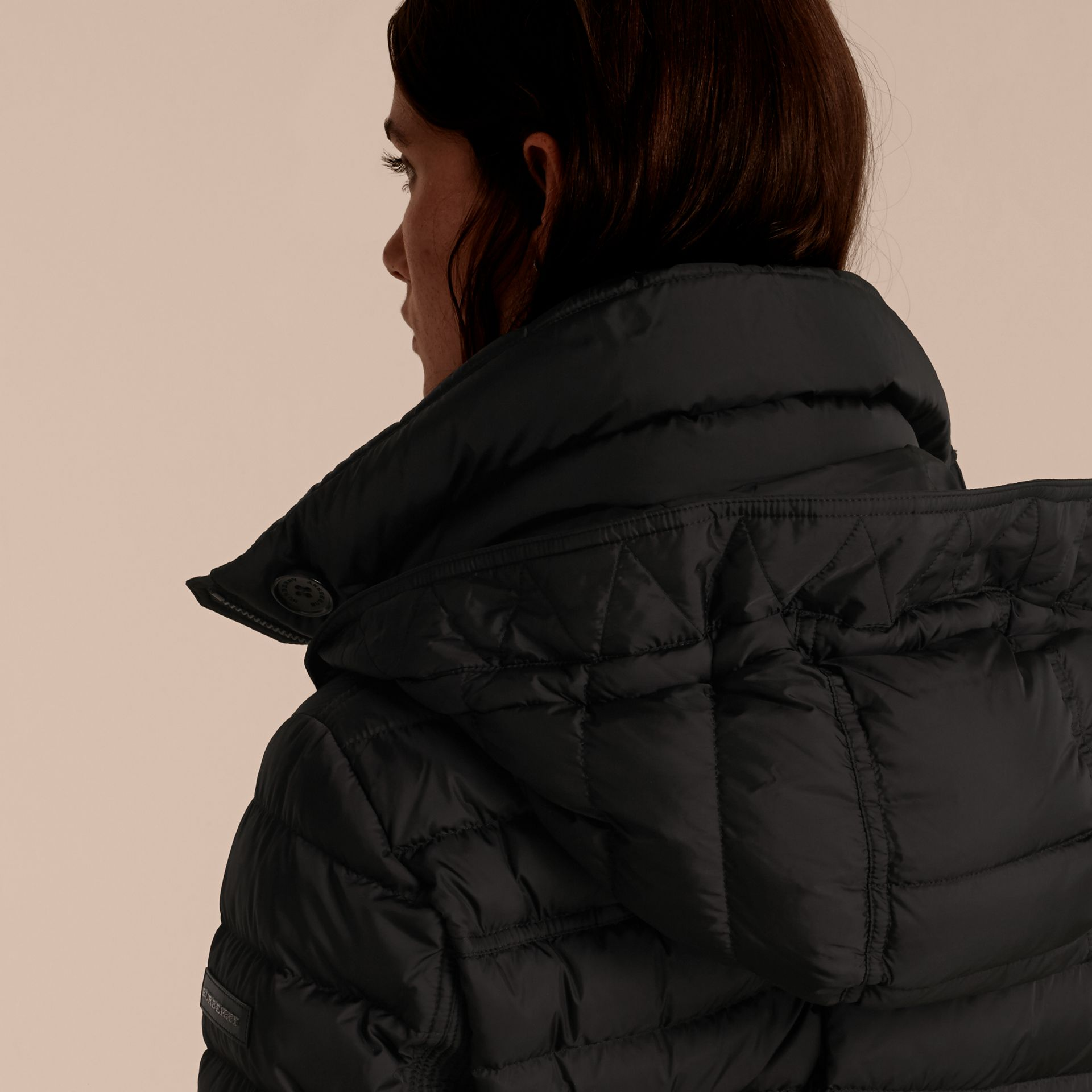 Black Down-filled Parka with Fur Trim Black - gallery image 4