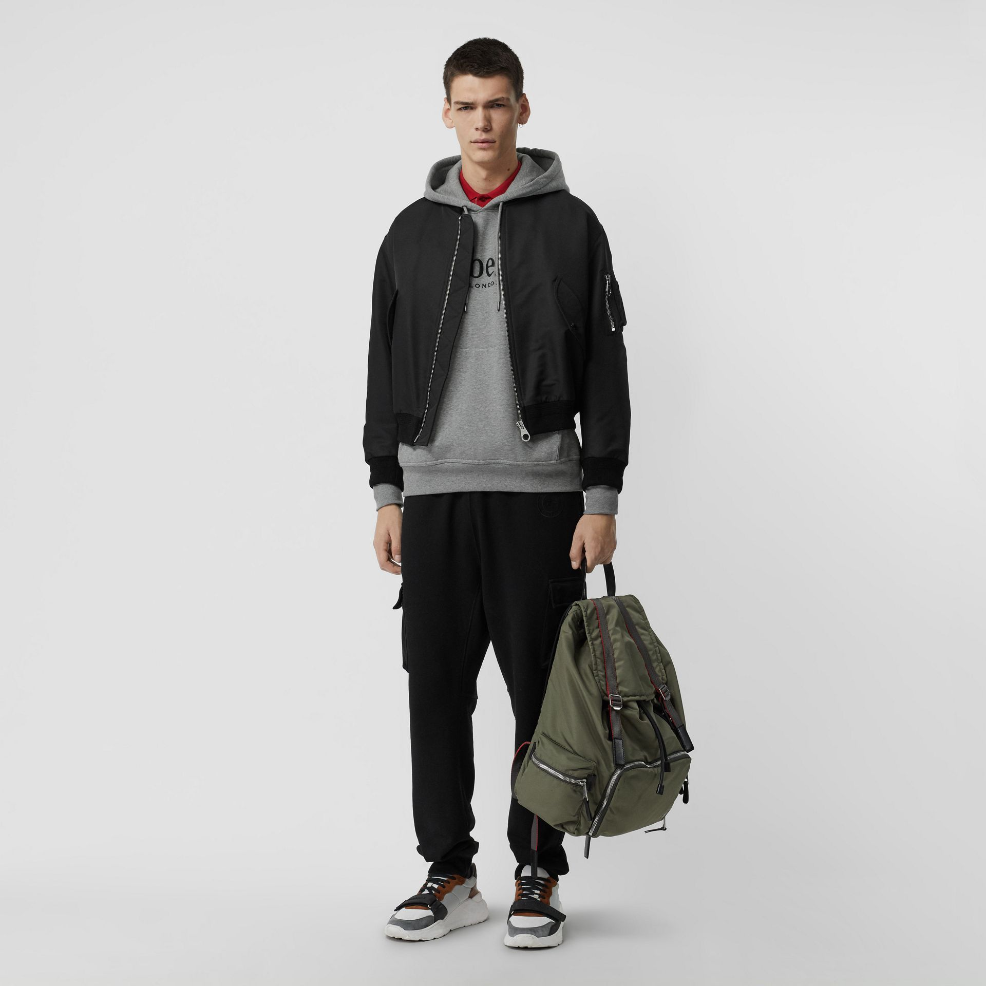 Embroidered Logo Jersey Hoodie in Pale Grey Melange - Men | Burberry Australia - gallery image 4