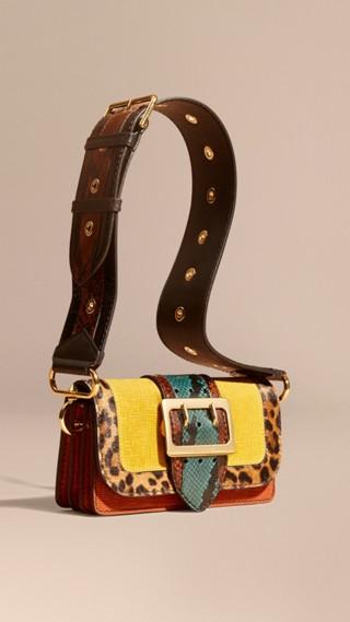 Borsa The Patchwork in pelle scamosciata effetto texture e cavallino con stampa leopardata
