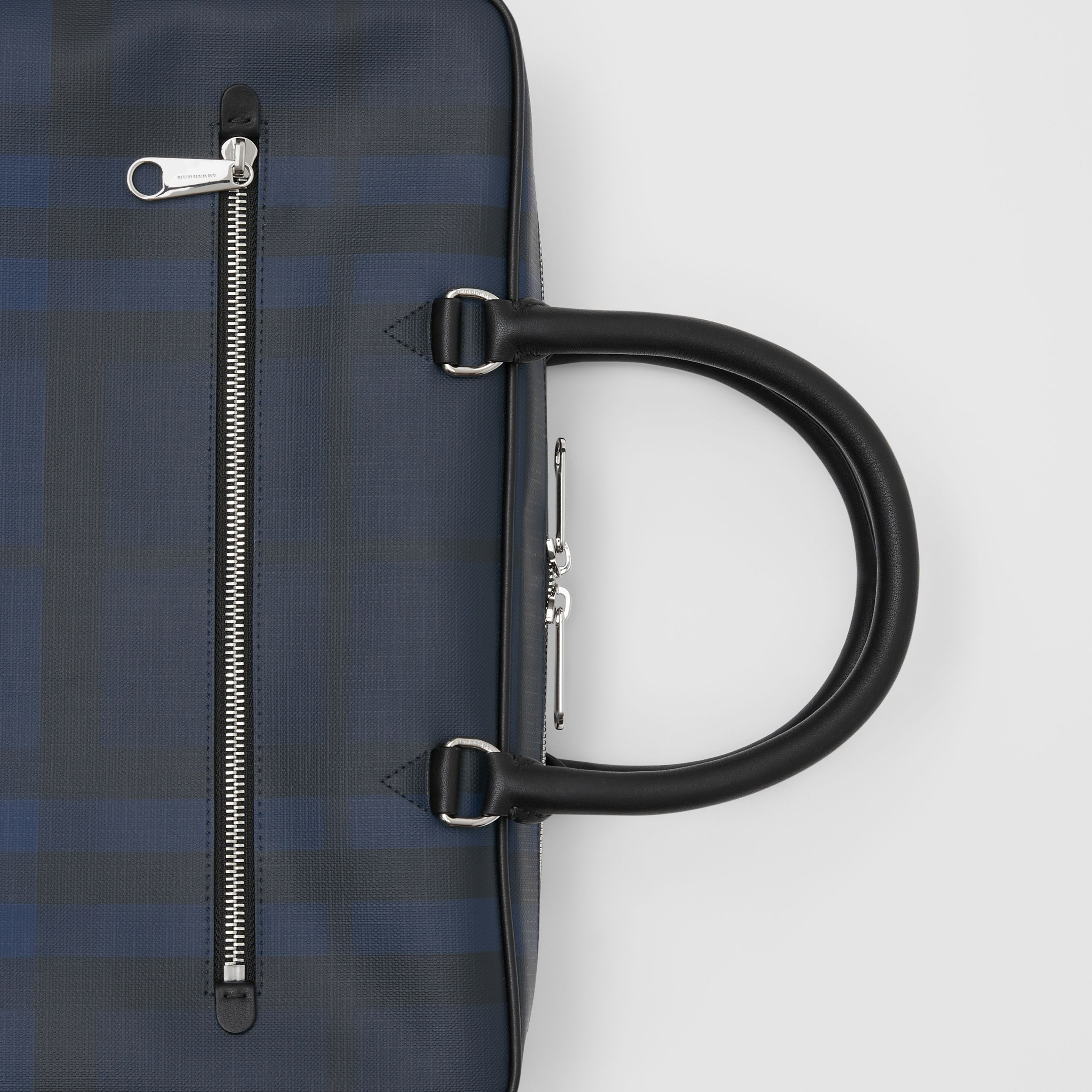 London Check and Leather Briefcase in Navy/black - Men | Burberry - 2