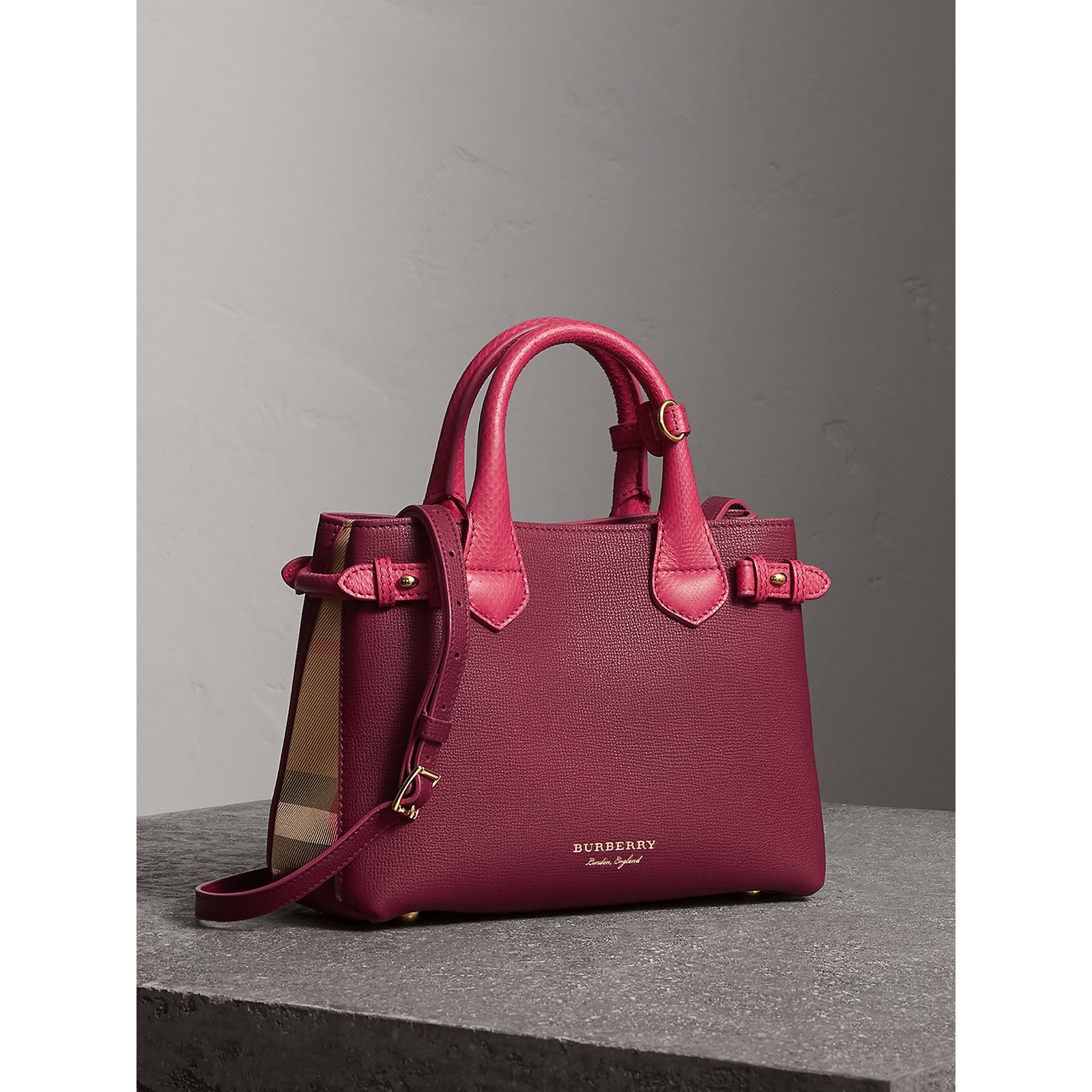 The Small Banner in Two-tone Leather in Berry Pink - Women | Burberry Hong Kong - gallery image 1