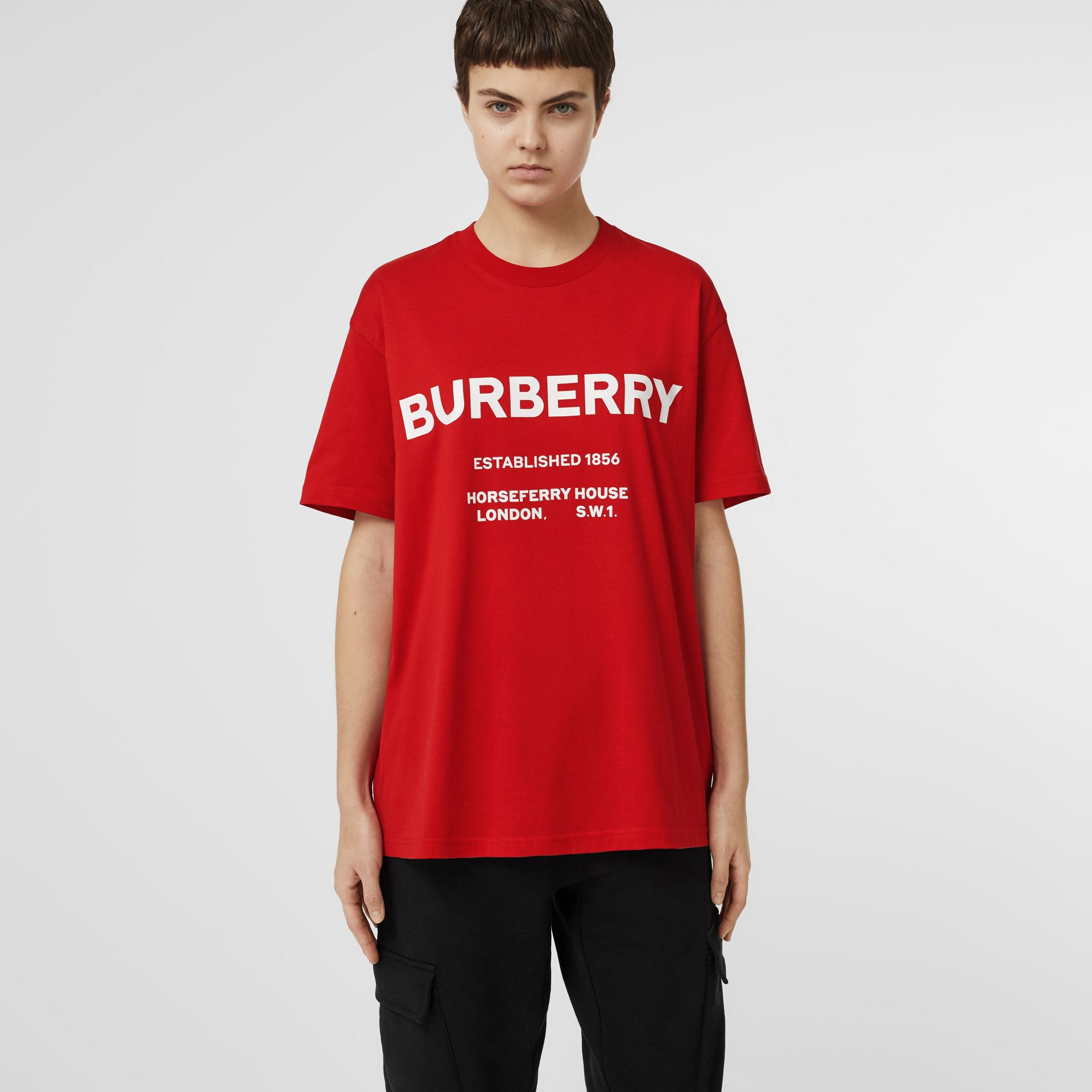 Horseferry Print Cotton Oversized T-shirt in Bright Red - Women | Burberry - gallery image 4