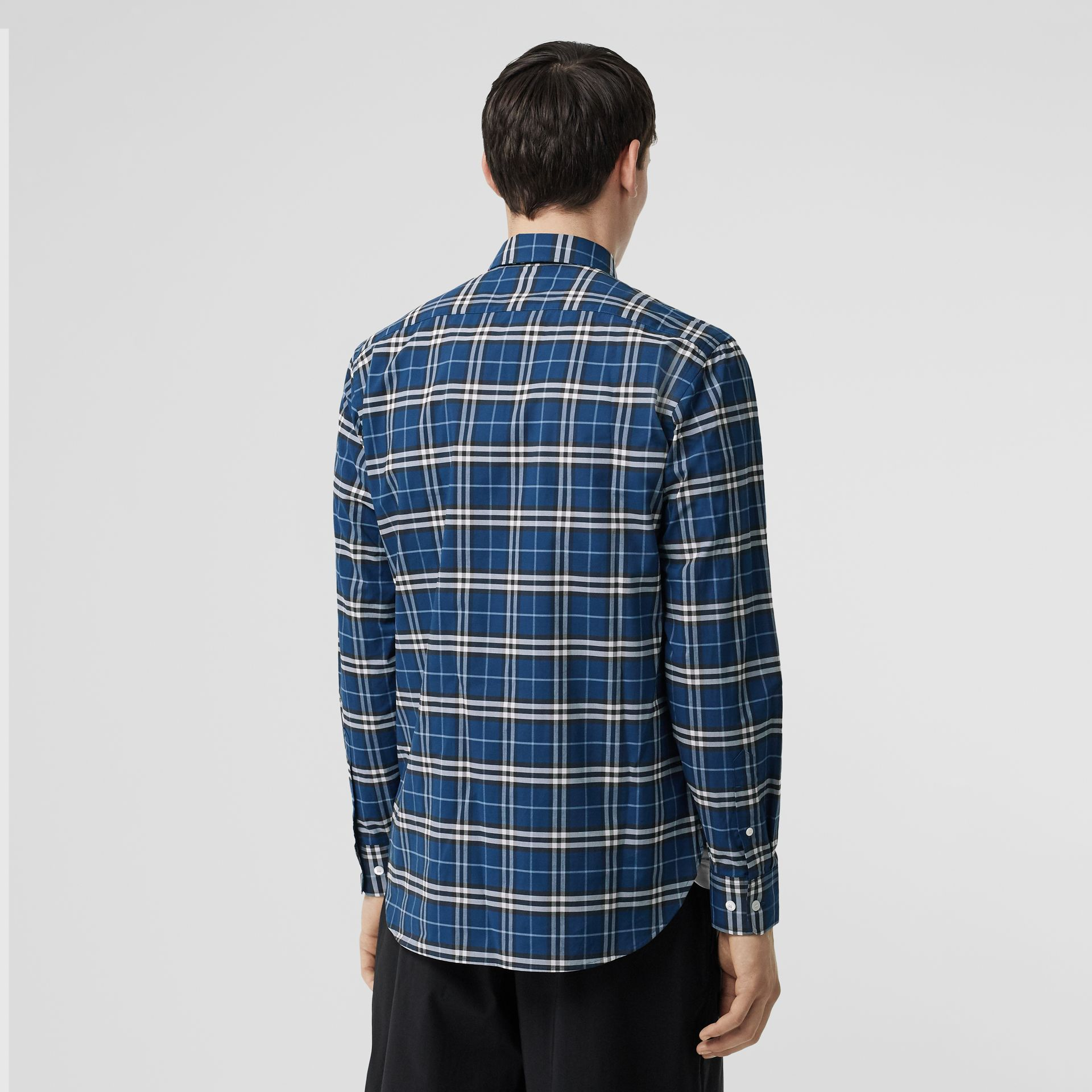 Check Stretch Cotton Shirt in Steel Blue - Men | Burberry - gallery image 2