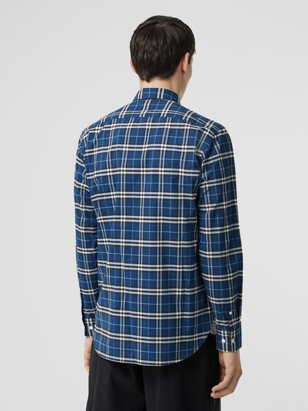 Check Stretch Cotton Shirt in Steel Blue - Men | Burberry - cell image 2