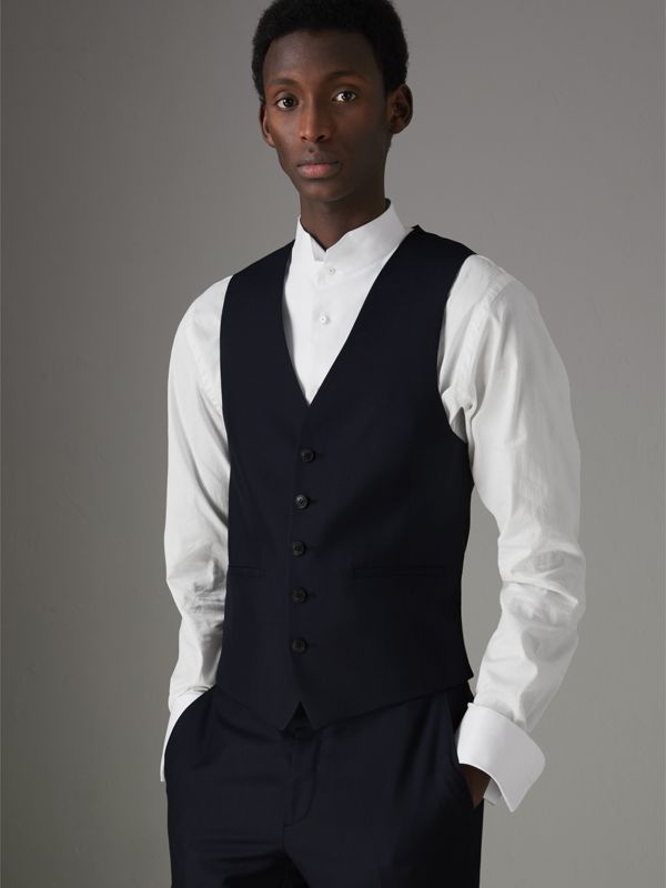 Slim Fit Wool Silk Three-piece Evening Suit in Navy - Men | Burberry - cell image 3
