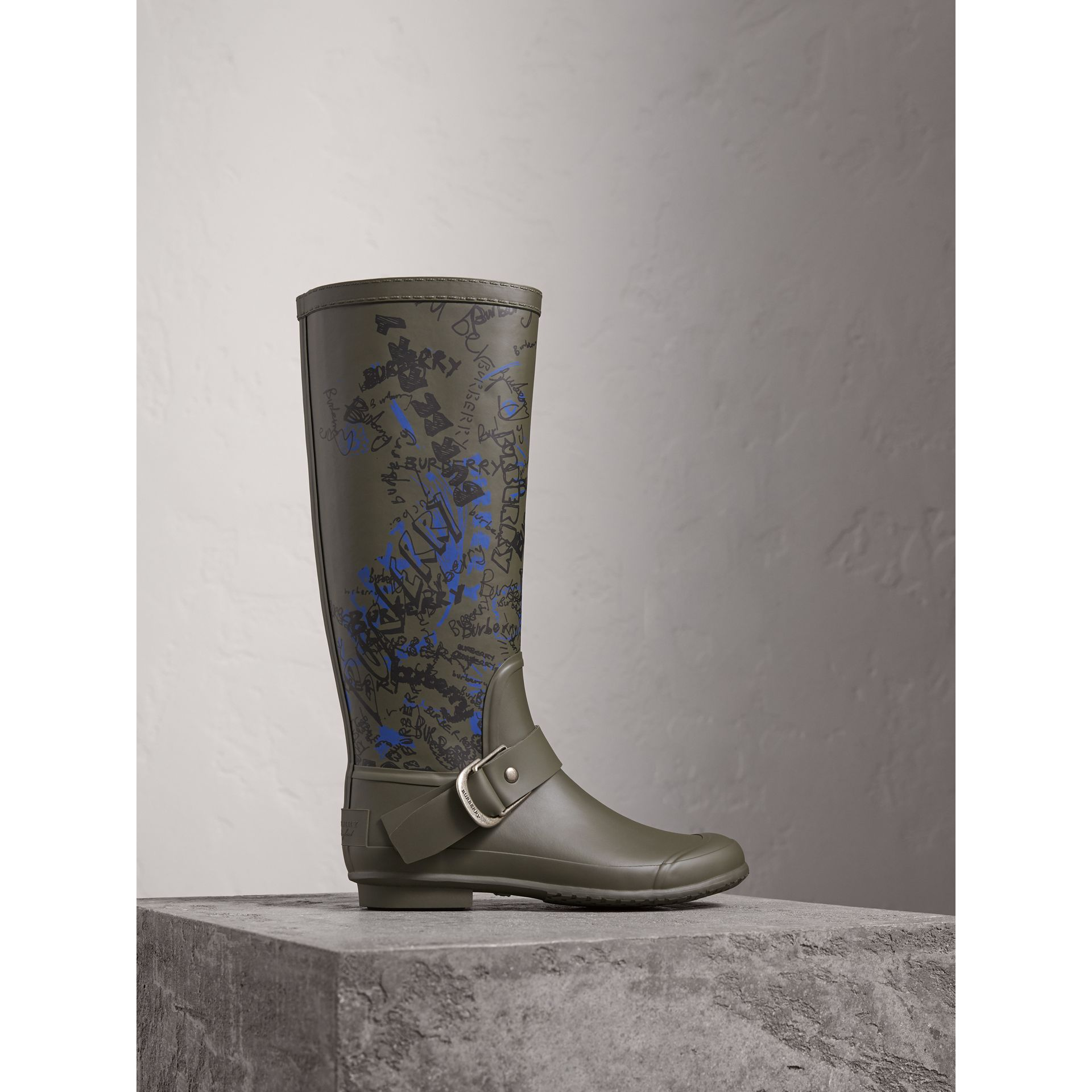 Doodle Print Rubber Rain Boots in Military Green - Women | Burberry Singapore - gallery image 0