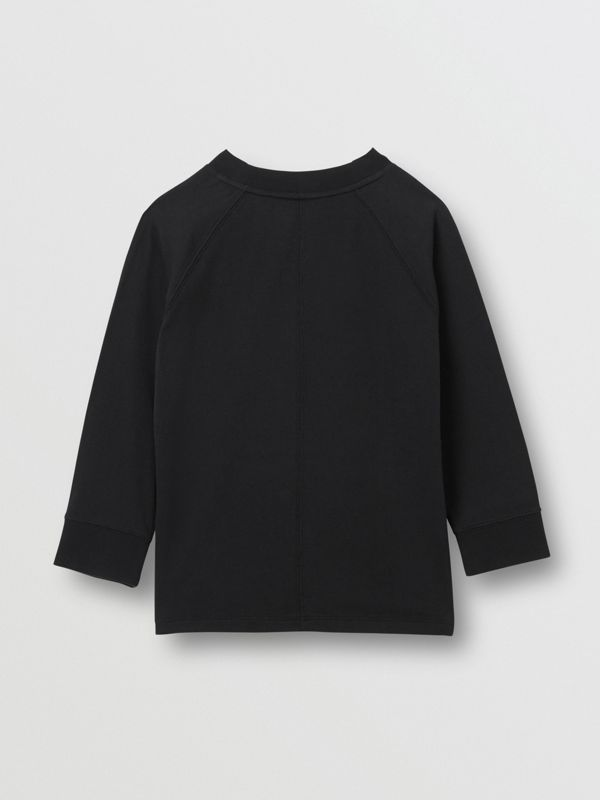 Long-sleeve Horseferry Print Cotton Top in Black | Burberry - cell image 3