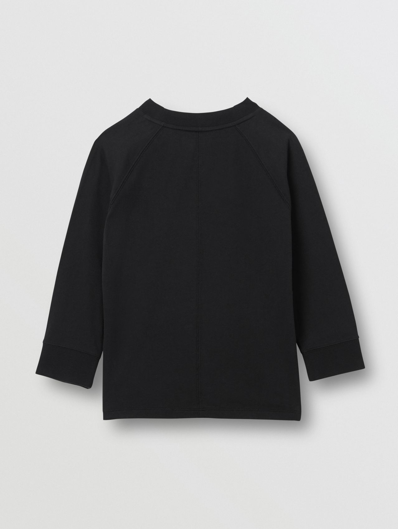 Long-sleeve Horseferry Print Cotton Top in Black