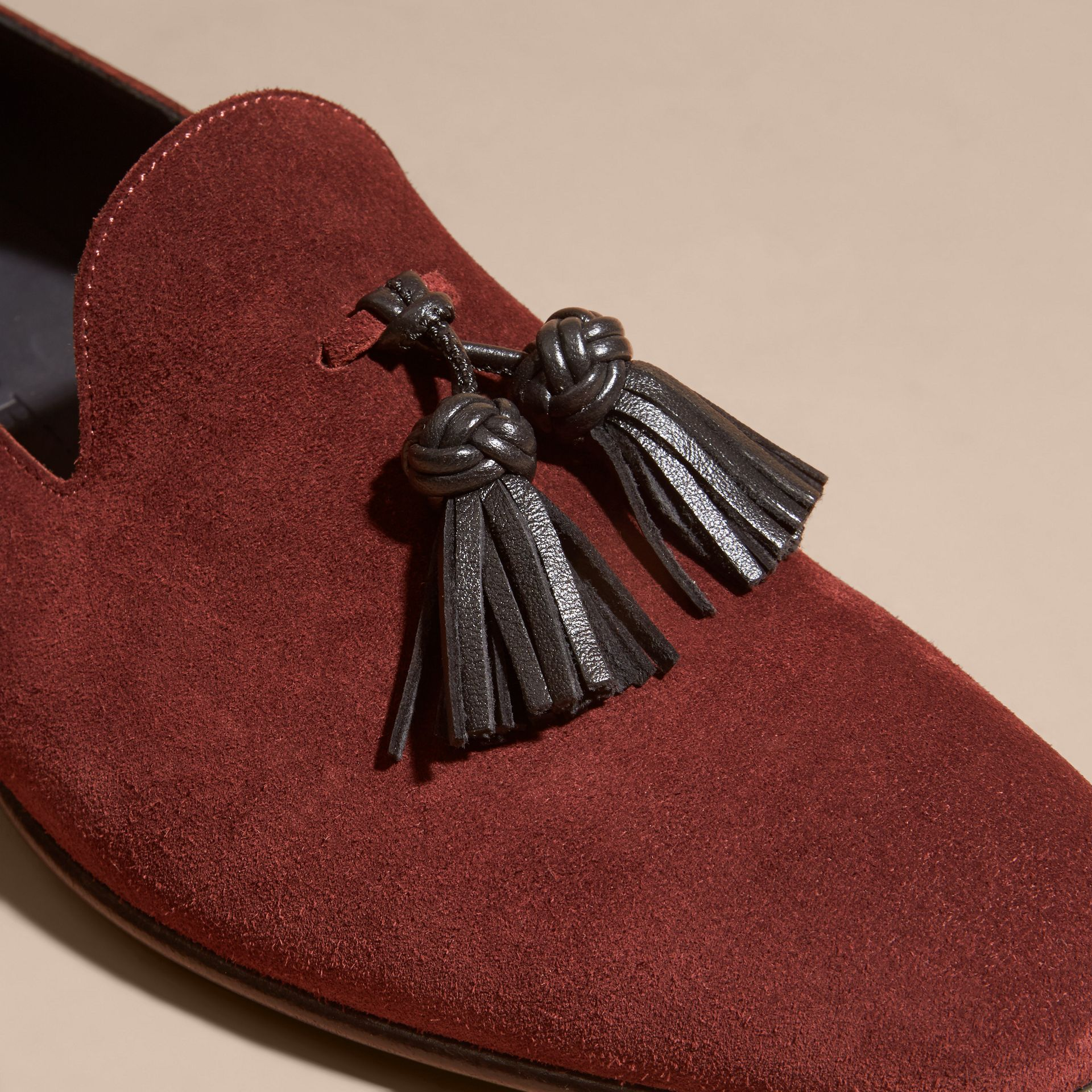 Deep aubergine Whole-cut Suede Tassel Loafers Deep Aubergine - gallery image 2