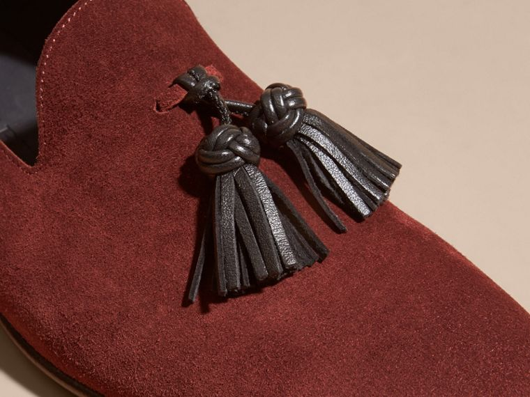 Deep aubergine Whole-cut Suede Tassel Loafers Deep Aubergine - cell image 1