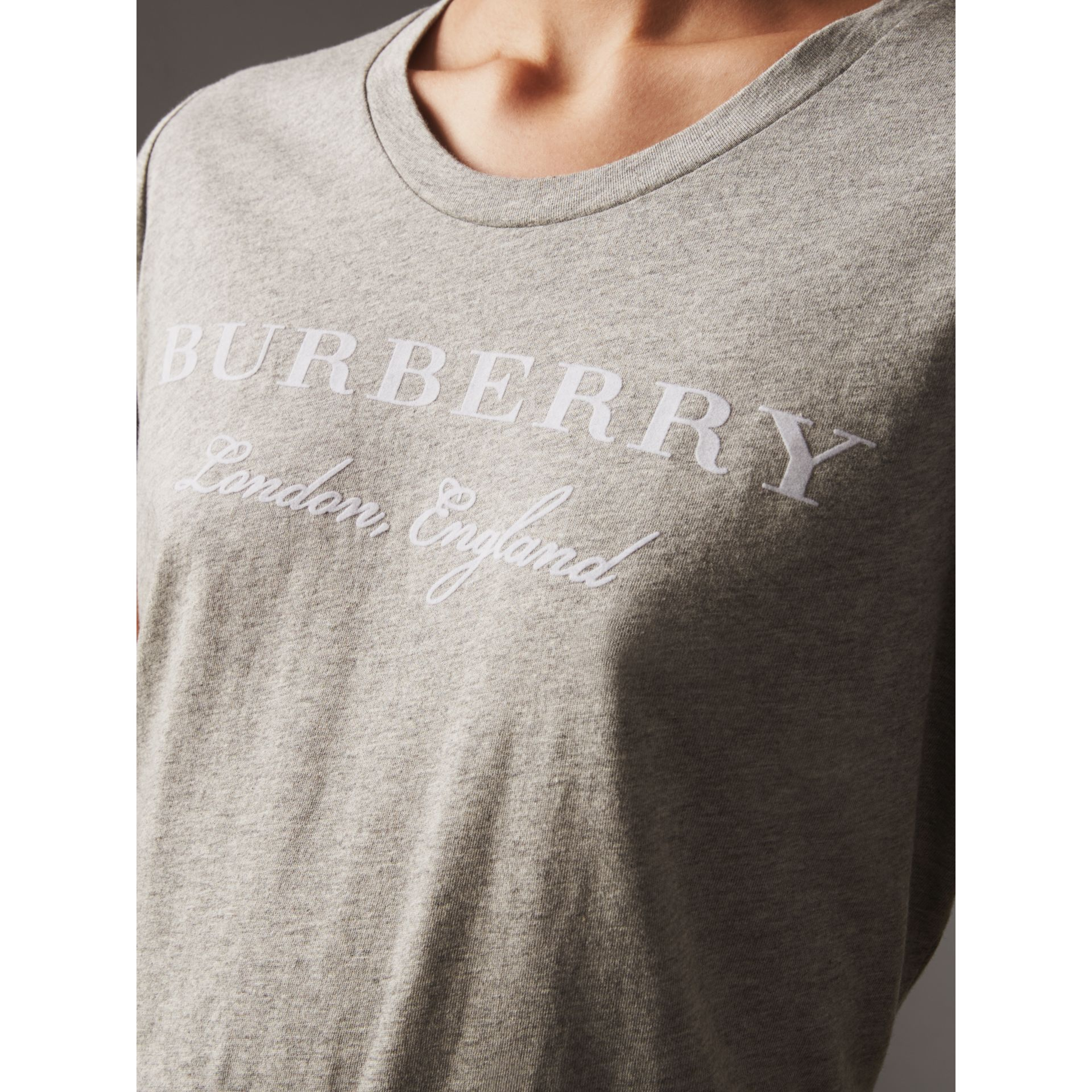 Printed Cotton T-shirt in Pale Grey Melange - Women | Burberry Canada - gallery image 1