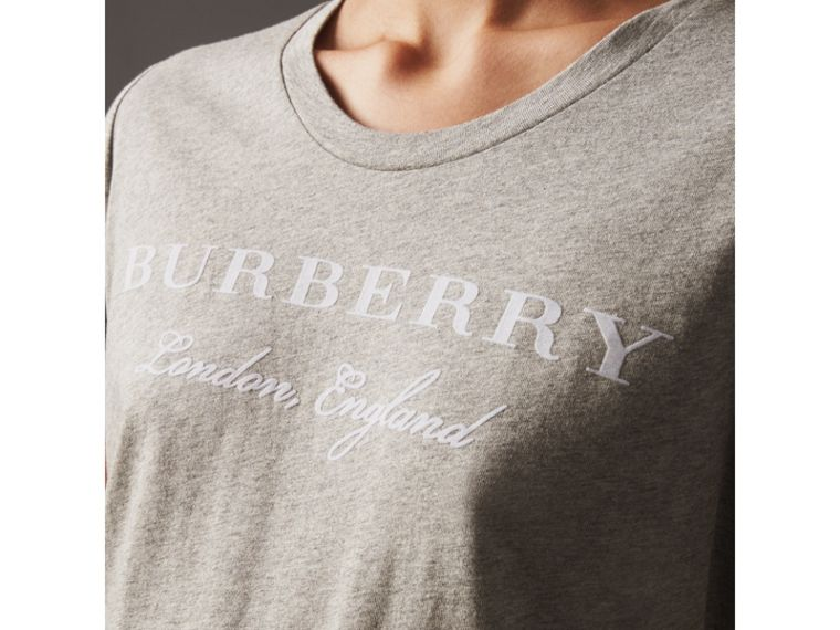Printed Cotton T-shirt in Pale Grey Melange - Women | Burberry United Kingdom - cell image 1
