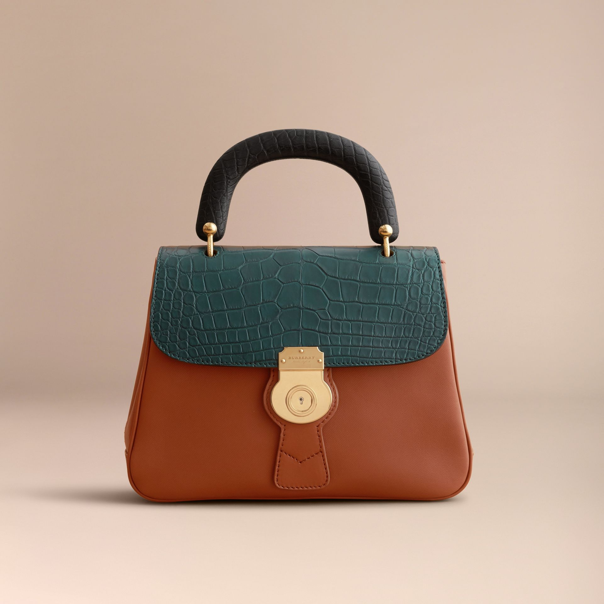 The Medium DK88 Top Handle Bag with Alligator Tan/dark Forest Green - gallery image 7