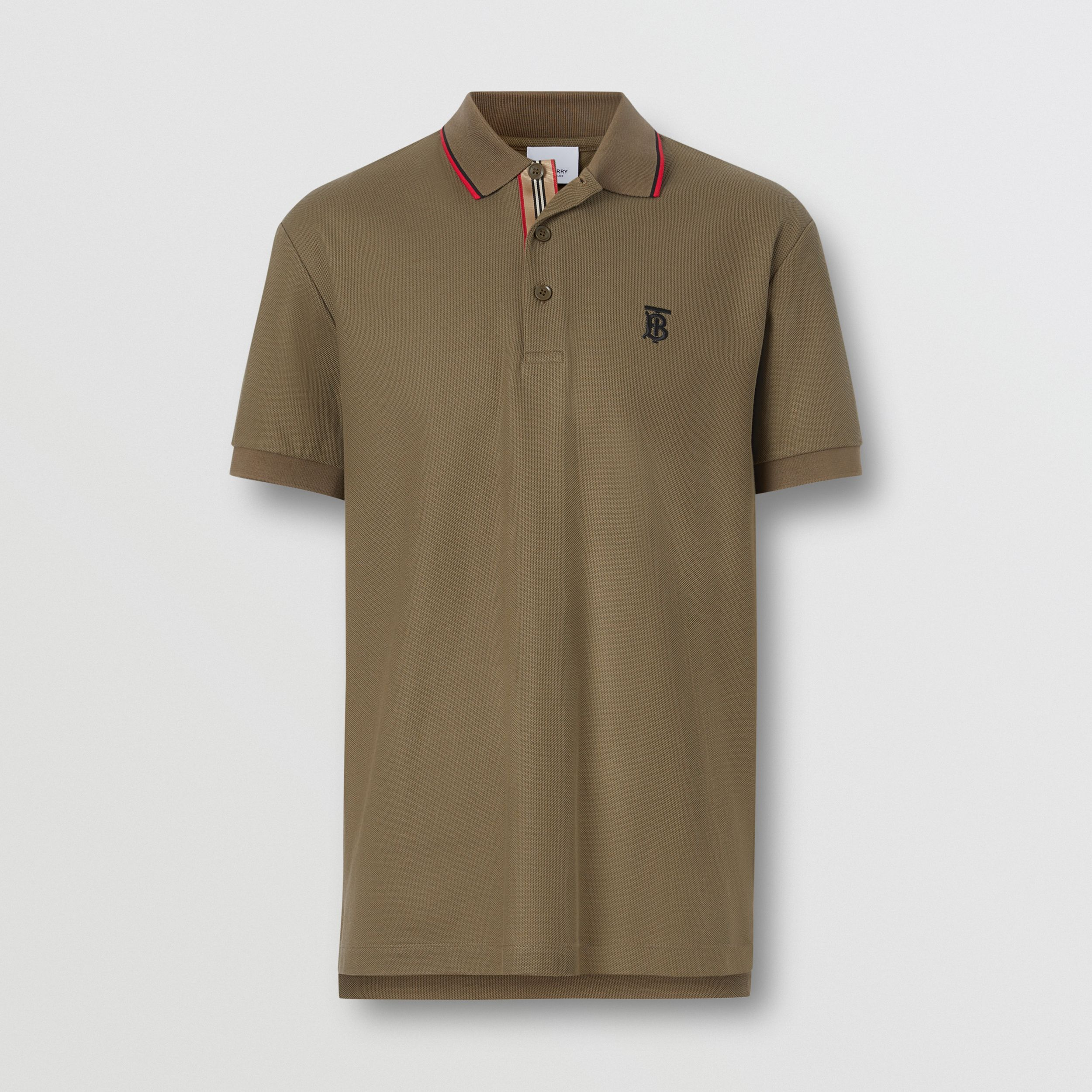 Monogram Motif Cotton Piqué Polo Shirt in Deep Khaki - Men | Burberry - 4