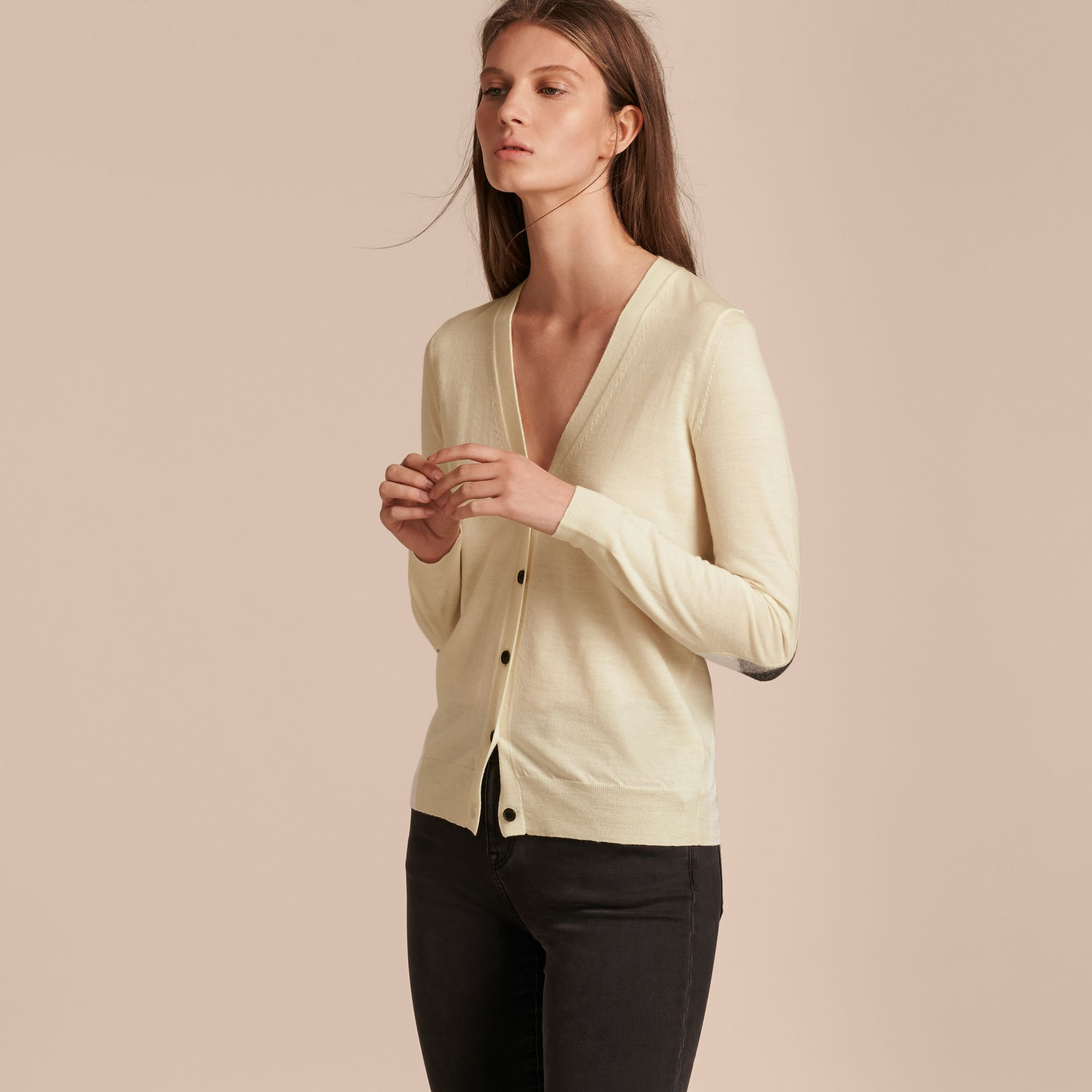 Check Detail Merino Wool Cardigan in Natural White - gallery image 7