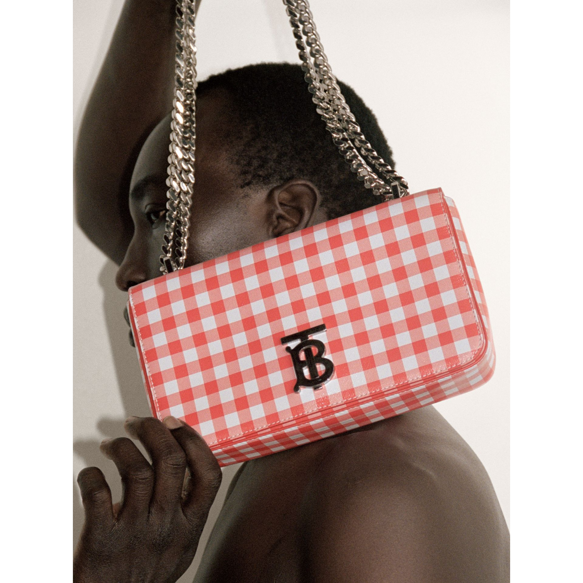 Small Gingham Leather Lola Bag in Red - Women | Burberry - gallery image 1