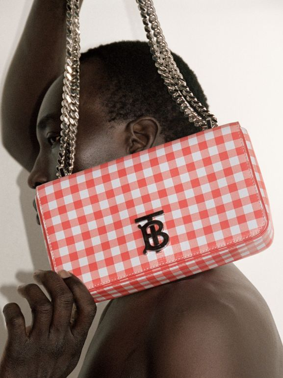 Small Gingham Leather Lola Bag in Red - Women | Burberry - cell image 1
