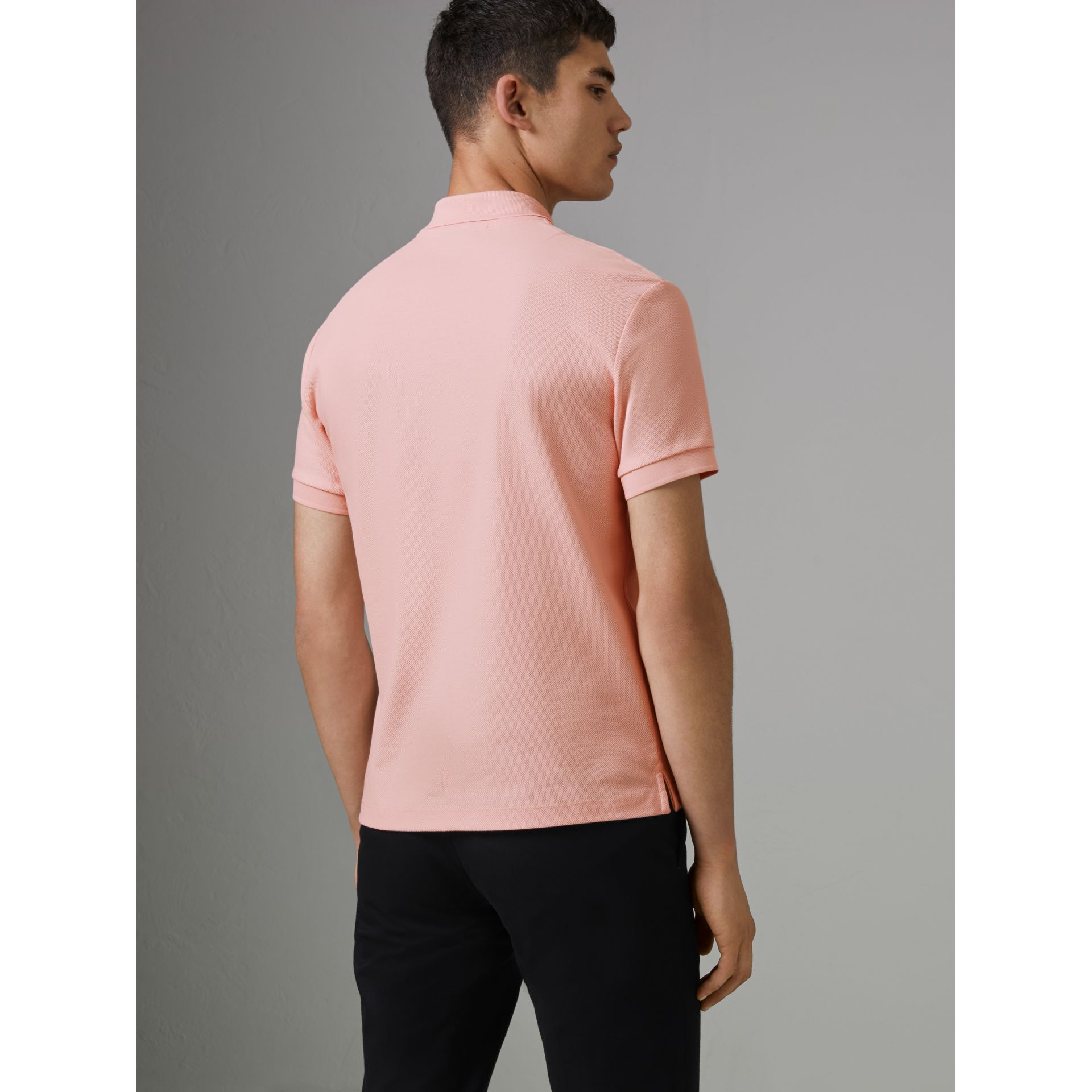 Archive Logo Cotton Piqué Polo Shirt in Pale Pink - Men | Burberry - gallery image 2