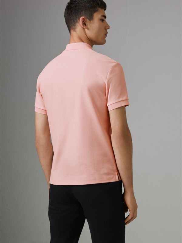 Archive Logo Cotton Piqué Polo Shirt in Pale Pink - Men | Burberry - cell image 2