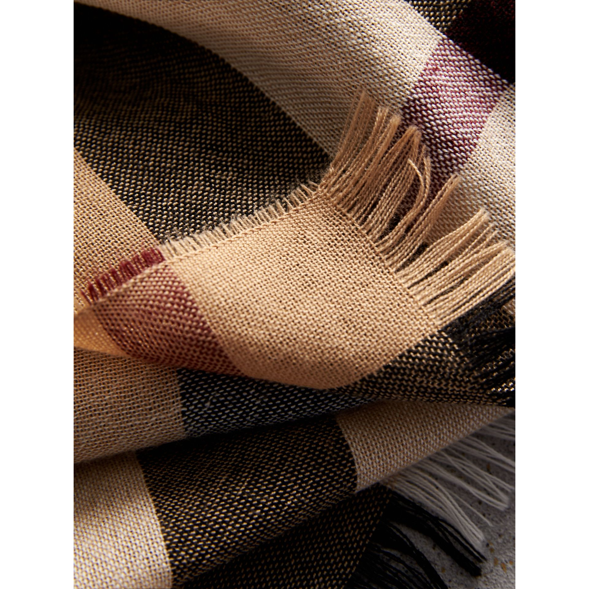 Lightweight Check Wool Cashmere Scarf in Camel | Burberry - gallery image 2