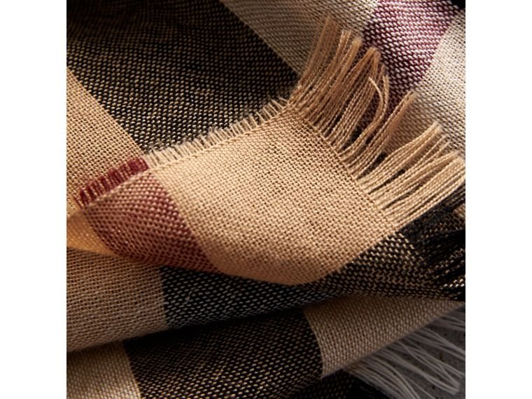 Lightweight Check Wool Cashmere Scarf in Camel | Burberry United Kingdom - cell image 1