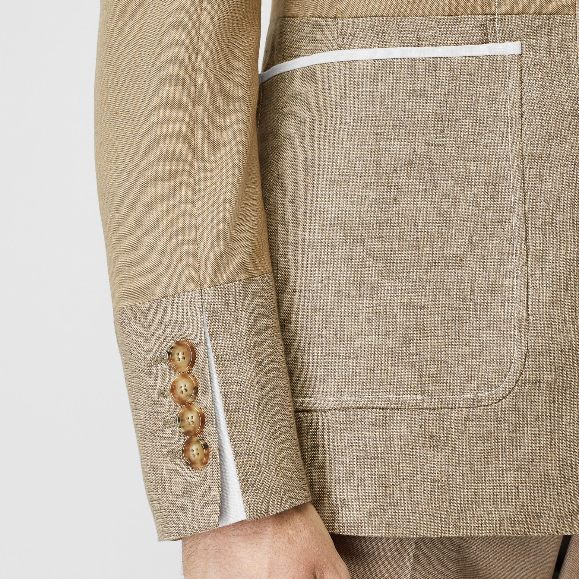 English Fit Wool Cashmere and Linen Tailored Jacket in Pecan Melange | Burberry - gallery image 4