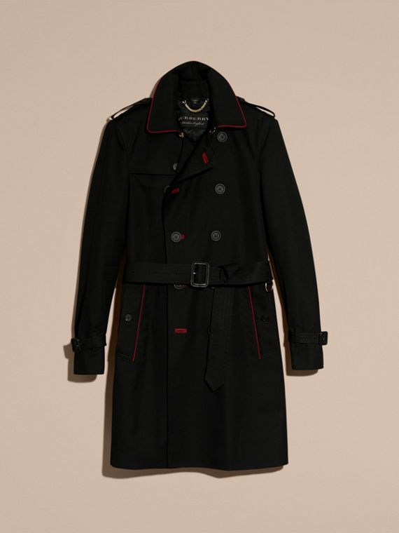 Black Military Detail Cotton Trench Coat - cell image 3