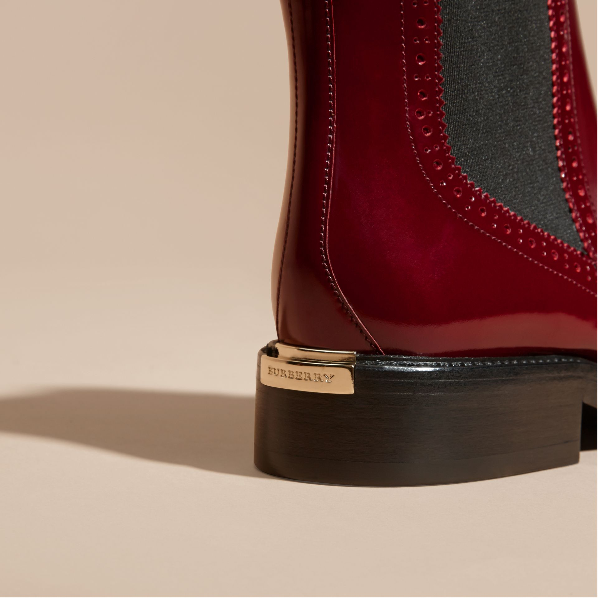 Mahogany red Leather Wingtip Chelsea Boots Mahogany Red - gallery image 2