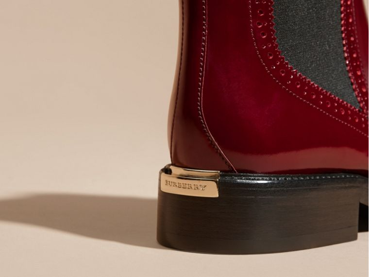 Mahogany red Leather Wingtip Chelsea Boots - cell image 1
