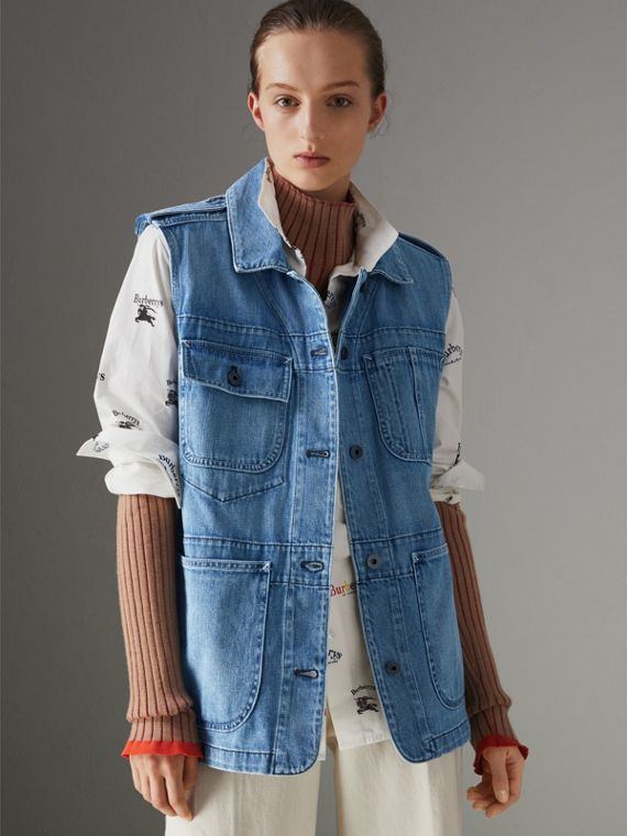 Sleeveless Japanese Denim Jacket in Steel Blue