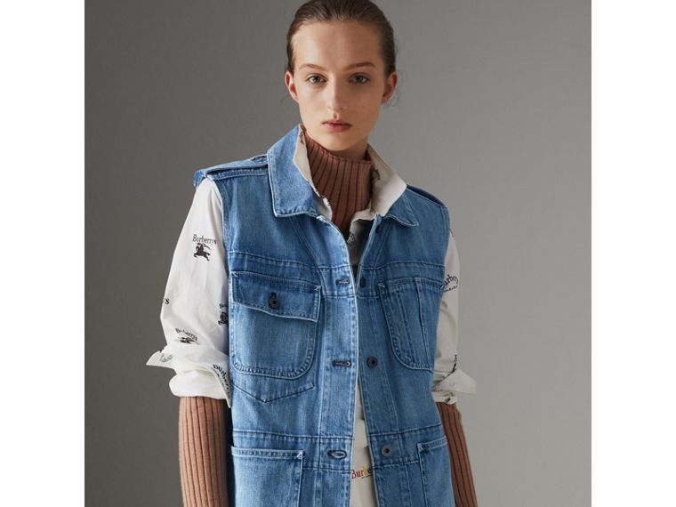 Sleeveless Japanese Denim Jacket in Steel Blue - Women | Burberry United Kingdom - cell image 4
