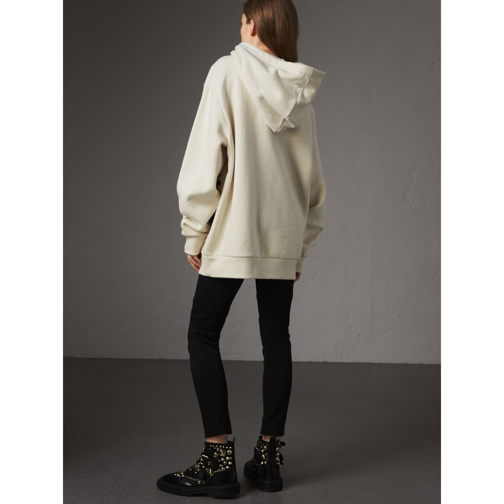 Equestrian Knight Device Cotton Hooded Sweatshirt in Natural White - Women | Burberry United Kingdom - gallery image 3