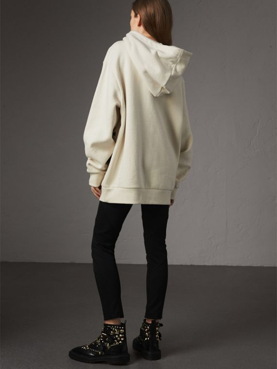 Equestrian Knight Device Cotton Hooded Sweatshirt in Natural White - Women | Burberry United Kingdom - cell image 2