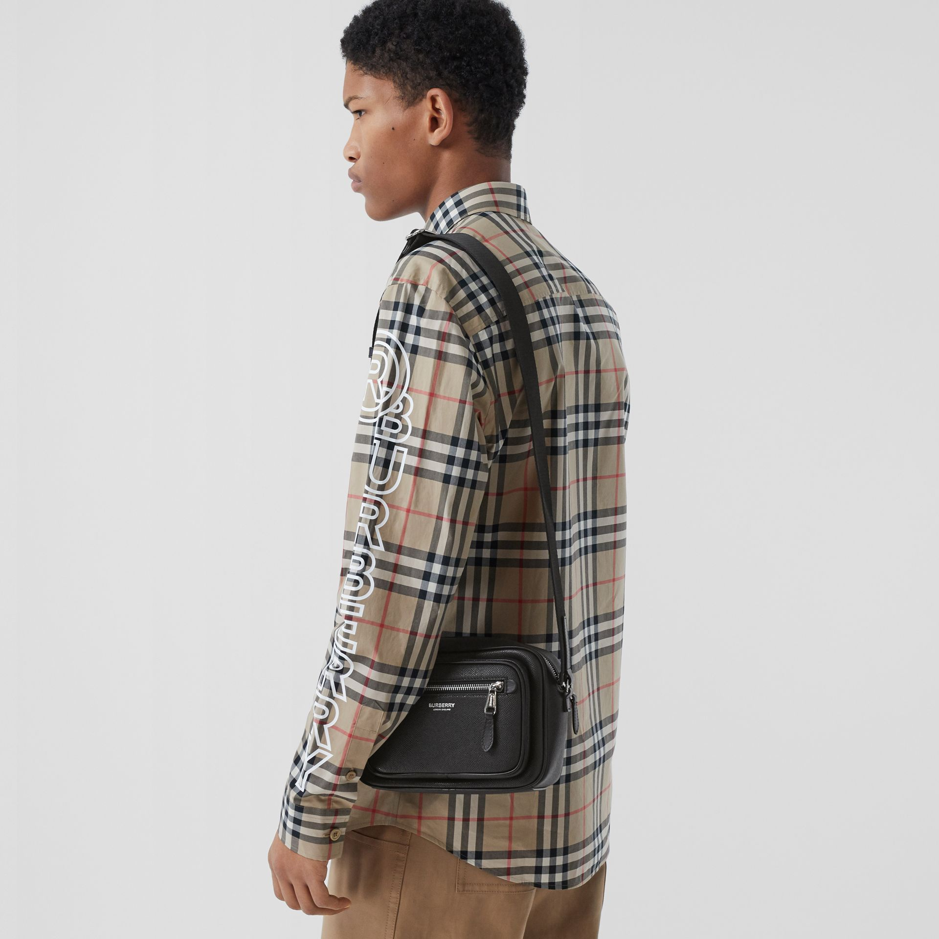 Grainy Leather Crossbody Bag in Black - Men | Burberry - gallery image 9