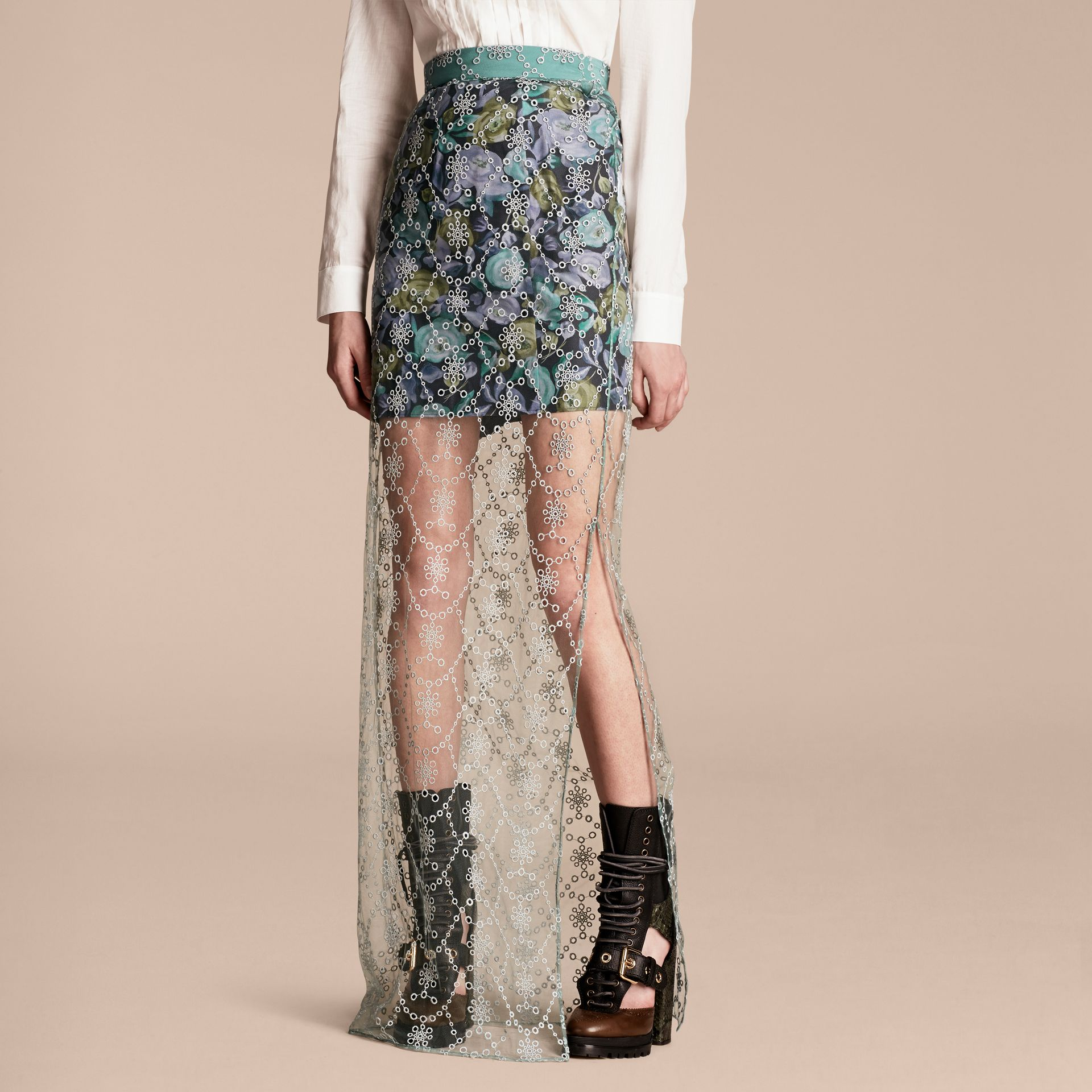 Aqua green Embroidered Tulle Column Skirt with Rose Print Lining - gallery image 1