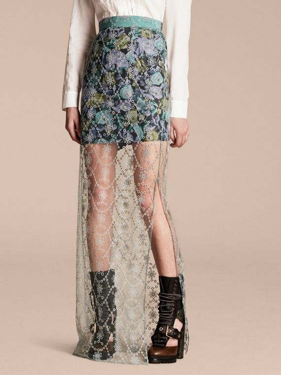 Embroidered Tulle Column Skirt with Rose Print Lining