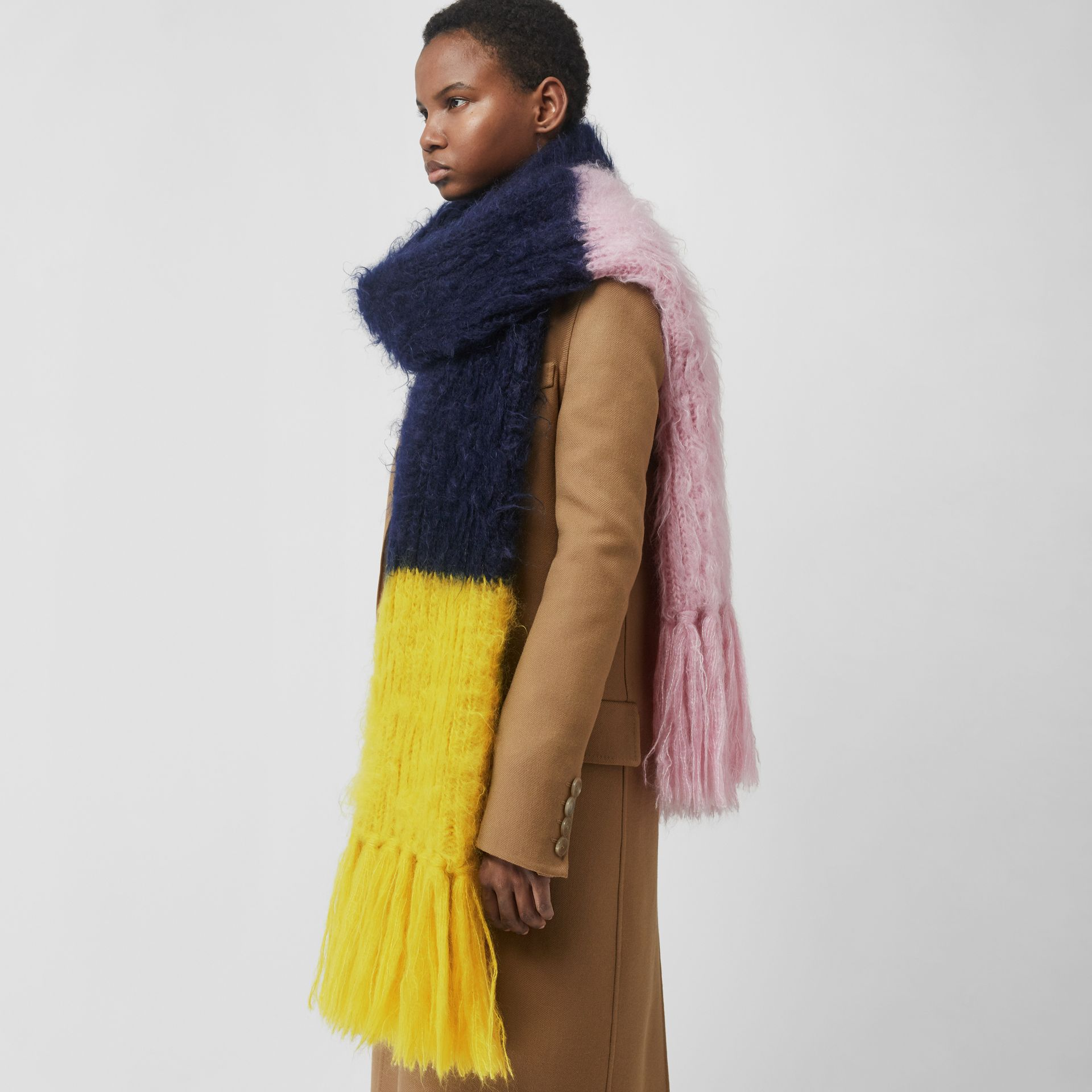 Colour Block Mohair Silk Oversized Scarf in Ink Blue - Women | Burberry - gallery image 5