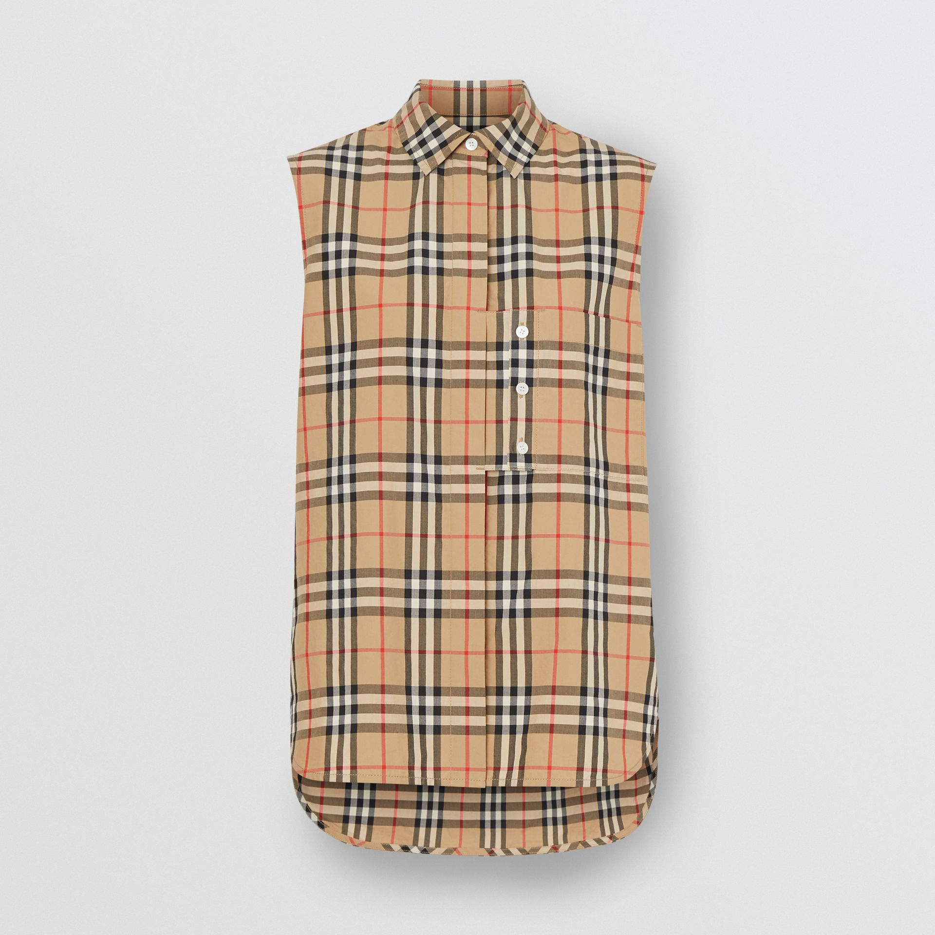 Sleeveless Vintage Check Cotton Poplin Oversized Shirt in Archive Beige - Women | Burberry United Kingdom - gallery image 3
