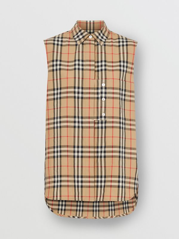 Sleeveless Vintage Check Cotton Poplin Oversized Shirt in Archive Beige - Women | Burberry United Kingdom - cell image 3