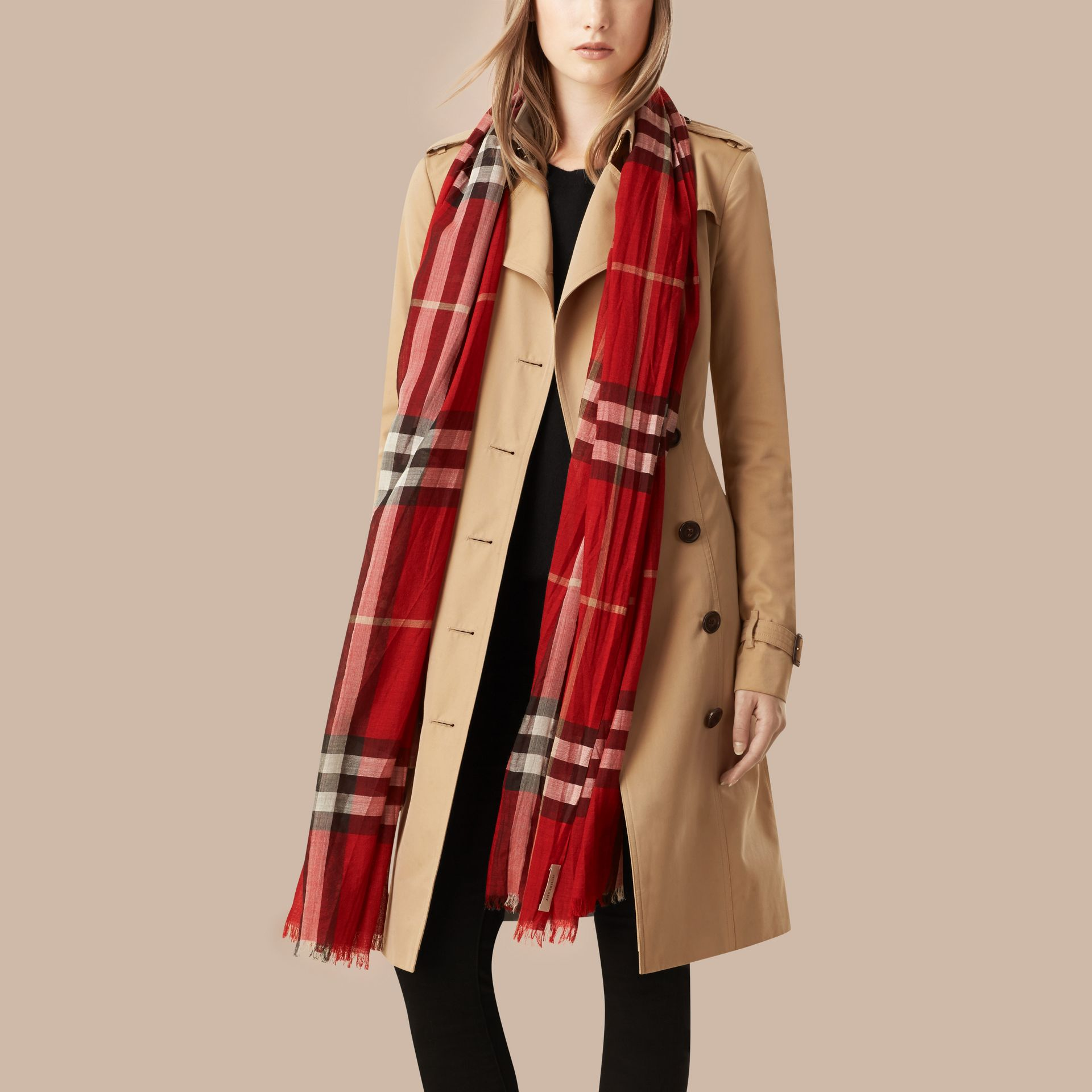 Lightweight Check Wool and Silk Scarf in Parade Red - gallery image 3