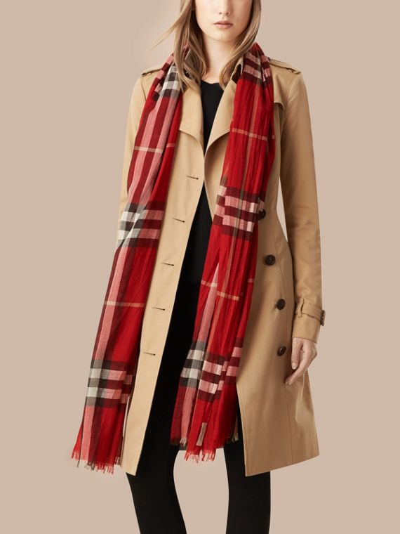 Lightweight Check Wool and Silk Scarf in Parade Red - Women | Burberry Australia - cell image 2