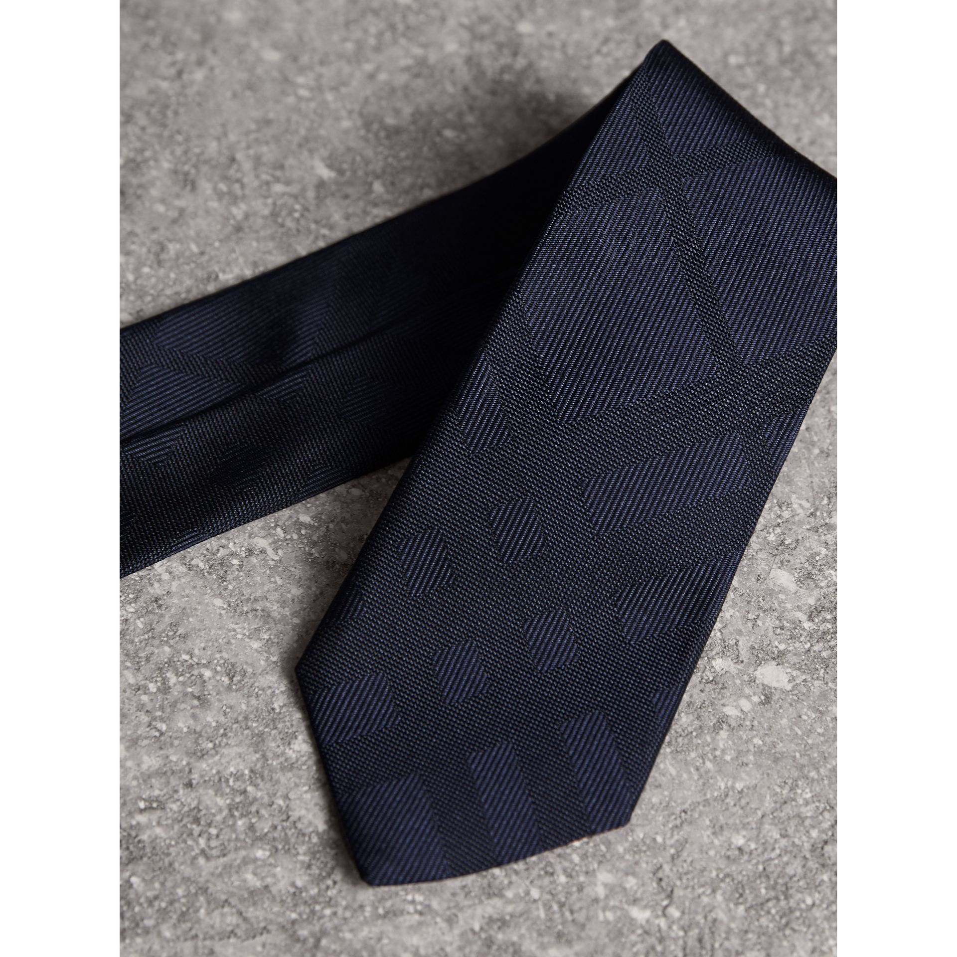 Slim Cut Check Silk Tie in Navy - Men | Burberry United Kingdom - gallery image 1
