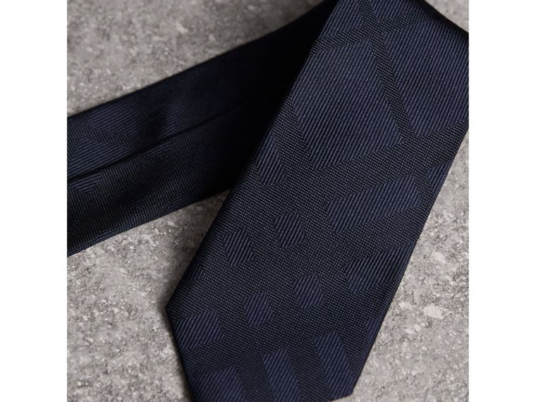 Slim Cut Check Silk Tie in Navy - Men | Burberry United Kingdom - cell image 1