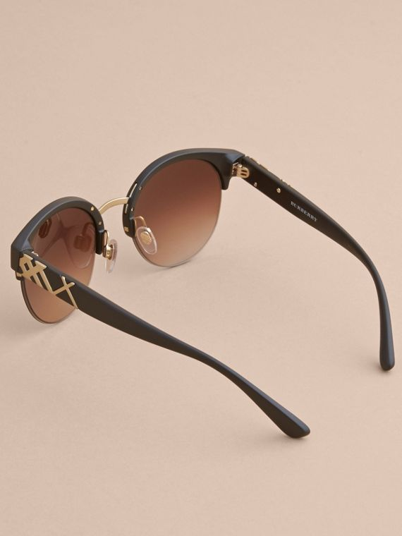 Check Detail Round Half-frame Sunglasses in Black - Women | Burberry Canada - cell image 3