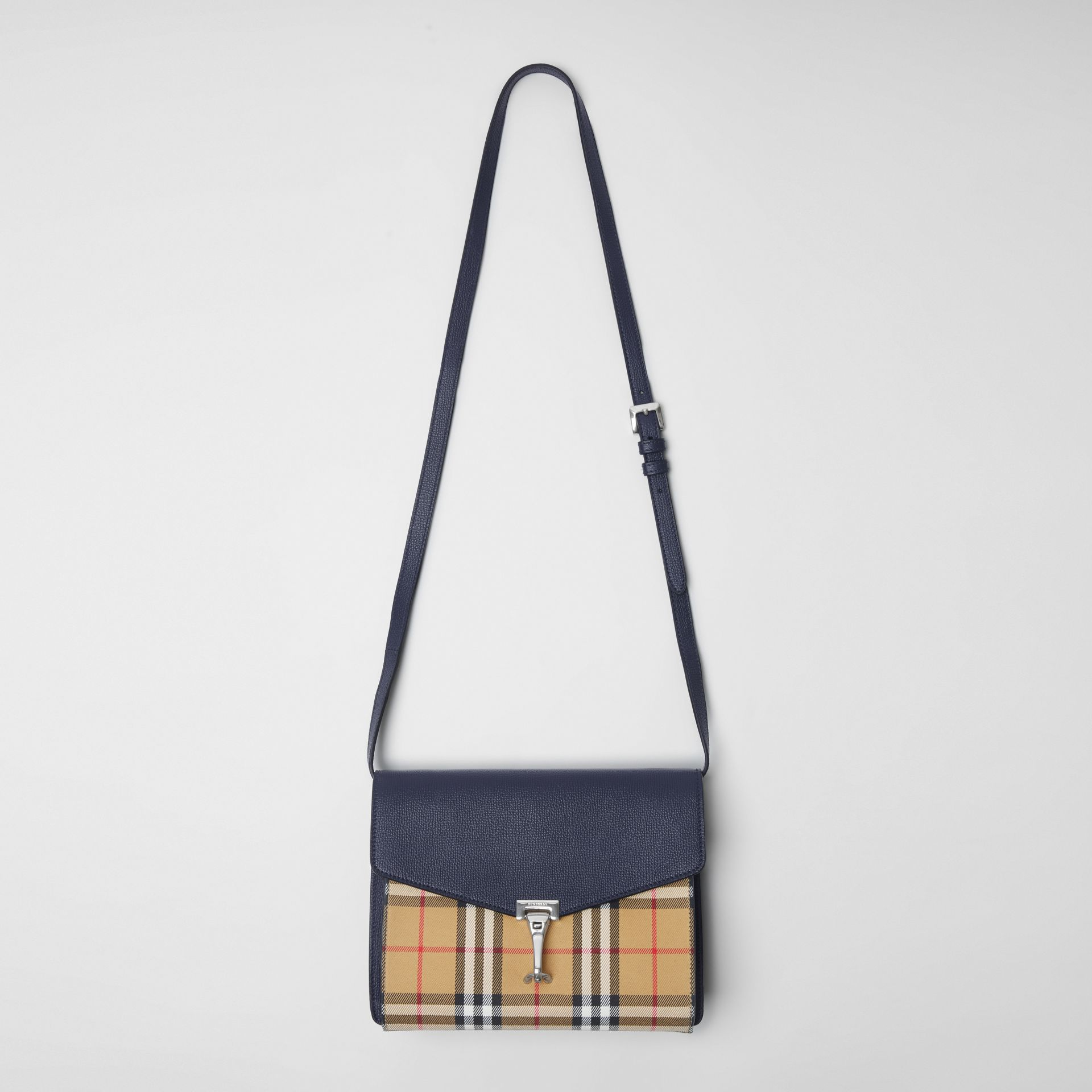 Small Vintage Check and Leather Crossbody Bag in Regency Blue - Women | Burberry - gallery image 2