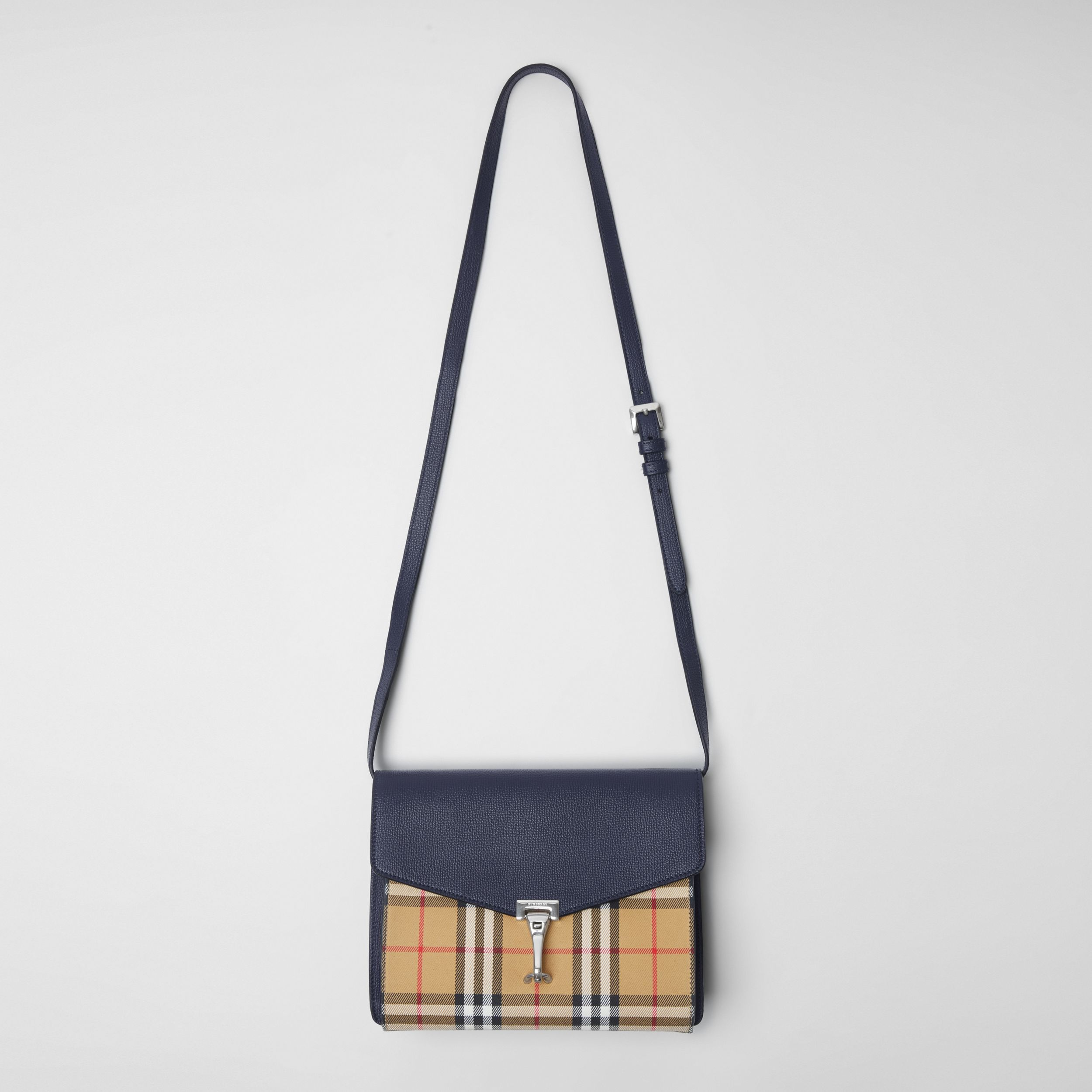 Small Vintage Check and Leather Crossbody Bag in Regency Blue | Burberry - 3