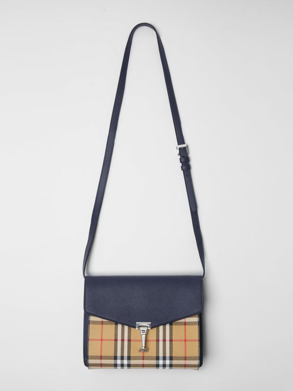 Small Vintage Check and Leather Crossbody Bag in Regency Blue - Women | Burberry - cell image 2
